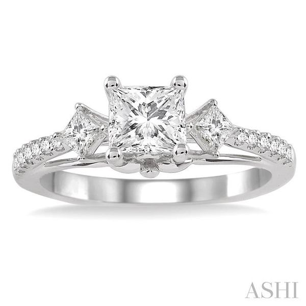 7/8 Ctw Diamond Engagement Ring with 1/2 Ct Princess Cut Center Stone in 14K White Gold Image 2 Seita Jewelers Tarentum, PA