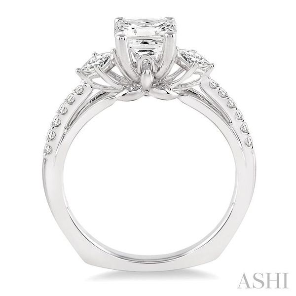 7/8 Ctw Diamond Engagement Ring with 1/2 Ct Princess Cut Center Stone in 14K White Gold Image 3 Seita Jewelers Tarentum, PA