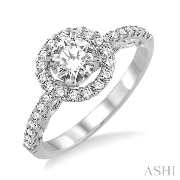 3/4 Ctw Diamond Engagement Ring with 3/8 Ct Round Cut Center Stone in 14K White Gold Seita Jewelers Tarentum, PA