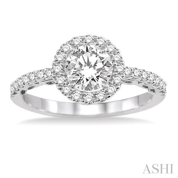3/4 Ctw Diamond Engagement Ring with 3/8 Ct Round Cut Center Stone in 14K White Gold Image 2 Seita Jewelers Tarentum, PA