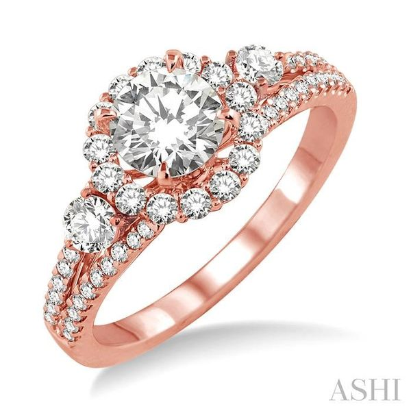 3/4 Ctw Diamond Engagement Ring with 1/3 Ct Round Cut Center Stone in 14K Rose Gold Seita Jewelers Tarentum, PA