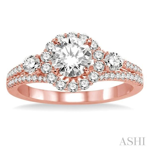 3/4 Ctw Diamond Engagement Ring with 1/3 Ct Round Cut Center Stone in 14K Rose Gold Image 2 Seita Jewelers Tarentum, PA