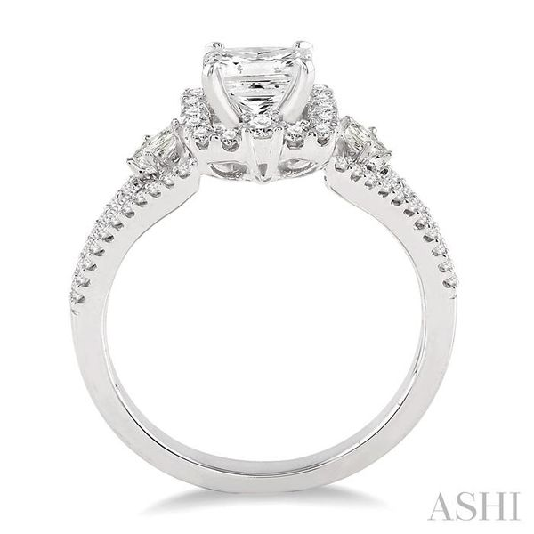 7/8 Ctw Diamond Engagement Ring with 1/3 Ct Princess Cut Center Stone in 14K White Gold Image 3 Seita Jewelers Tarentum, PA