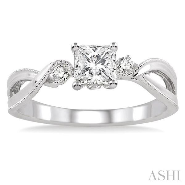 3/8 Ctw Diamond Engagement Ring with 1/3 Ct Princess Cut Center Stone in 14K White Gold Image 2 Seita Jewelers Tarentum, PA