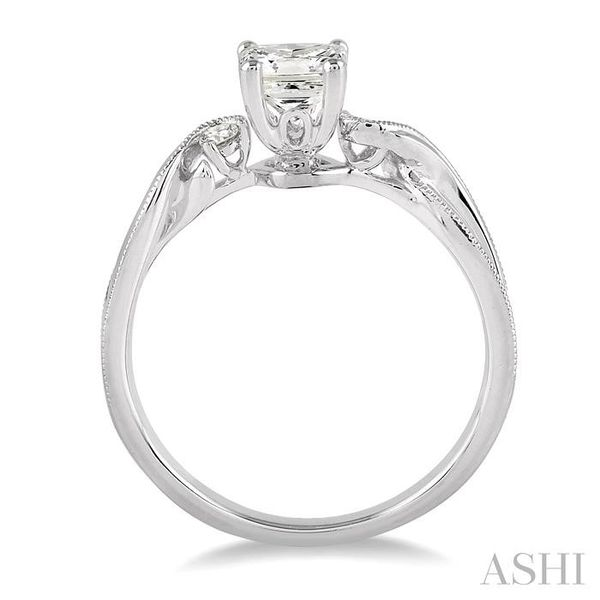 3/8 Ctw Diamond Engagement Ring with 1/3 Ct Princess Cut Center Stone in 14K White Gold Image 3 Seita Jewelers Tarentum, PA