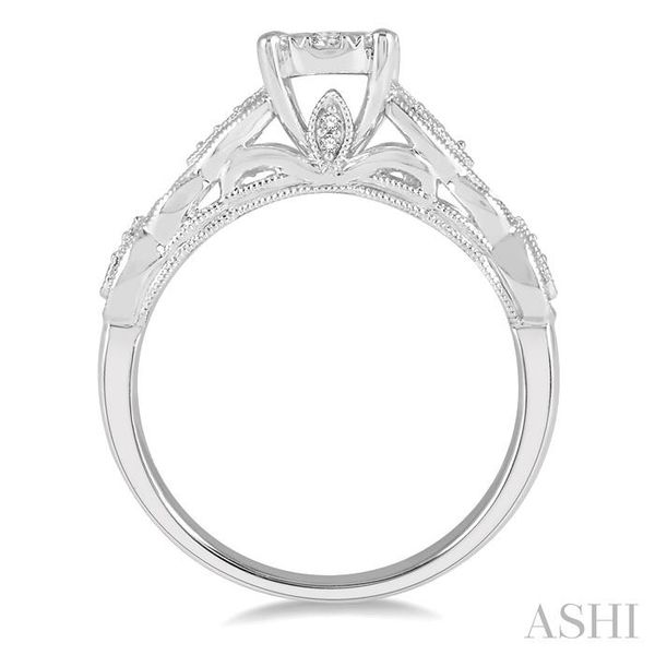 3/8 ctw Circular Mount Marquise Cutwork Shank Lovebright Round Cut Diamond Ring in 14K White Gold Image 3 Seita Jewelers Tarentum, PA