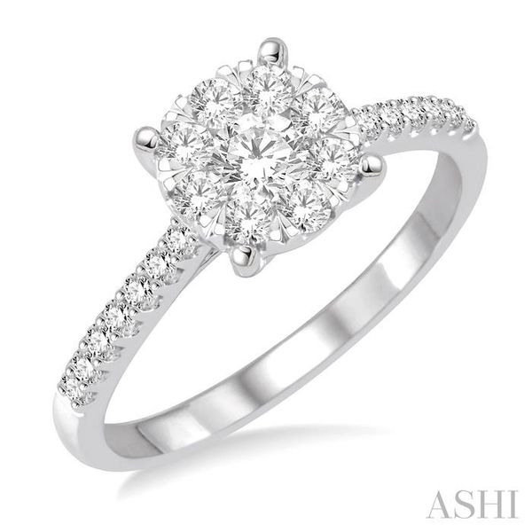 3/4 Ctw Round Shape Diamond Lovebright Ring in 14K White Gold Seita Jewelers Tarentum, PA