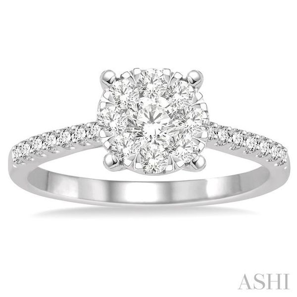 3/4 Ctw Round Shape Diamond Lovebright Ring in 14K White Gold Image 2 Seita Jewelers Tarentum, PA
