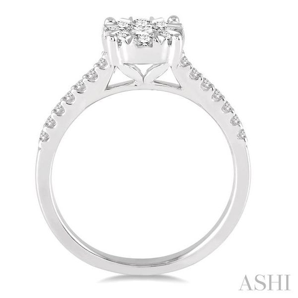 3/4 Ctw Round Shape Diamond Lovebright Ring in 14K White Gold Image 3 Seita Jewelers Tarentum, PA