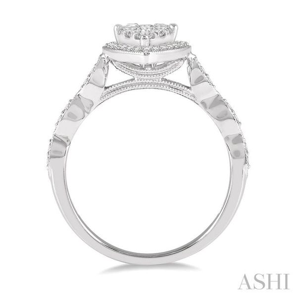 1/2 ctw Two Tier Pear Shape Mount Marquise Shank Lovebright Round Cut Diamond Ring in 14K White Gold Image 3 Seita Jewelers Tarentum, PA