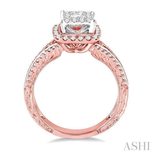 3/4 Ctw Princess Cut Diamond Lovebright Engagement Ring in 14K Rose and White Gold Image 3 Seita Jewelers Tarentum, PA