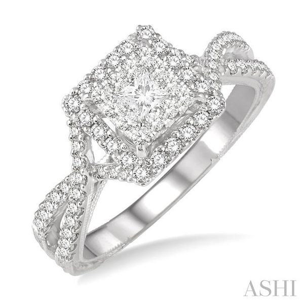 5/8 Ctw Diamond Lovebright Engagement Ring in 14K White Gold Seita Jewelers Tarentum, PA