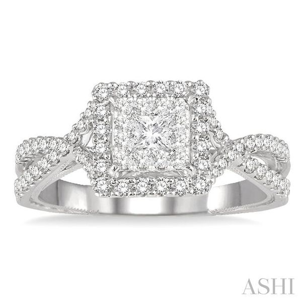 5/8 Ctw Diamond Lovebright Engagement Ring in 14K White Gold Image 2 Seita Jewelers Tarentum, PA