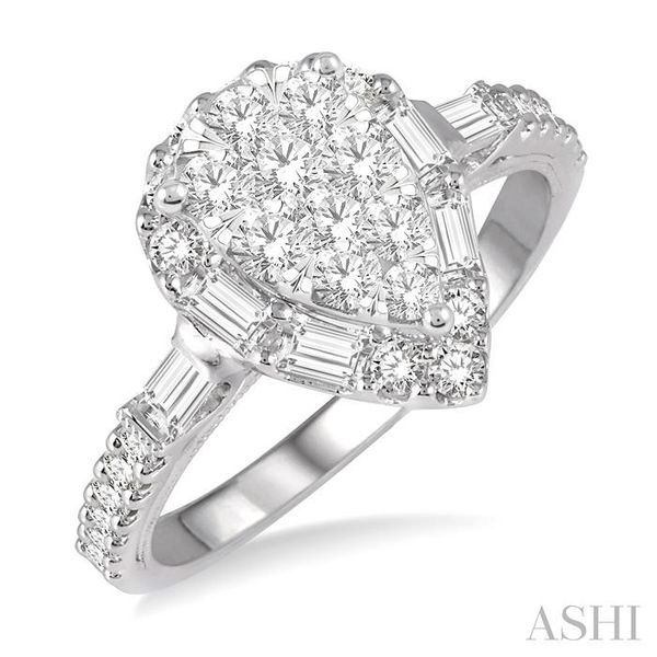 3/4 ctw Pear Shape Lovebright Baguette and Round Cut Diamond Ring in 14K White Gold Seita Jewelers Tarentum, PA