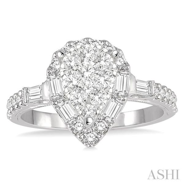 3/4 ctw Pear Shape Lovebright Baguette and Round Cut Diamond Ring in 14K White Gold Image 2 Seita Jewelers Tarentum, PA