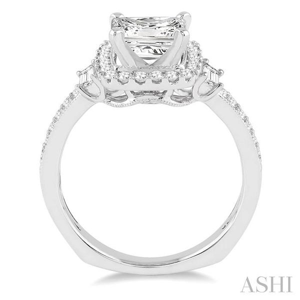 1 1/3 Ctw Diamond Engagement Ring with 3/4 Ct Princess Cut Center Stone in 14K White Gold Image 3 Seita Jewelers Tarentum, PA