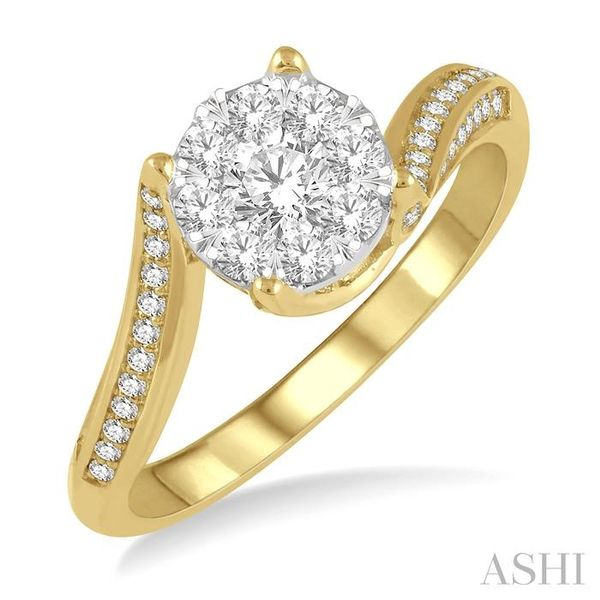 5/8 ctw Embraced Mount Lovebright Round Cut Diamond Ring in 14K Yellow and White Gold Seita Jewelers Tarentum, PA