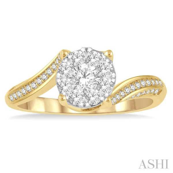 5/8 ctw Embraced Mount Lovebright Round Cut Diamond Ring in 14K Yellow and White Gold Image 2 Seita Jewelers Tarentum, PA