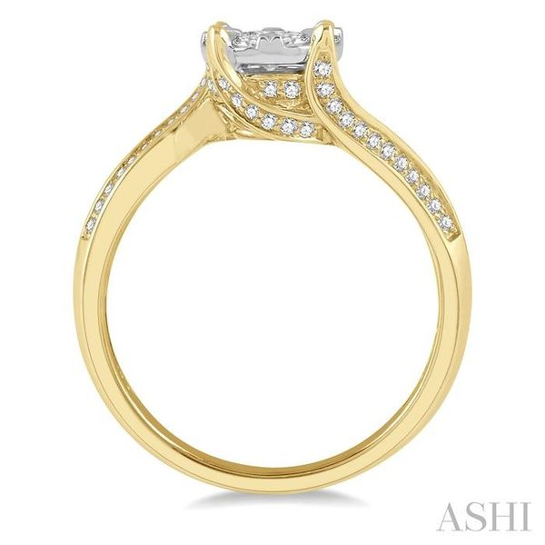5/8 ctw Embraced Mount Lovebright Round Cut Diamond Ring in 14K Yellow and White Gold Image 3 Seita Jewelers Tarentum, PA