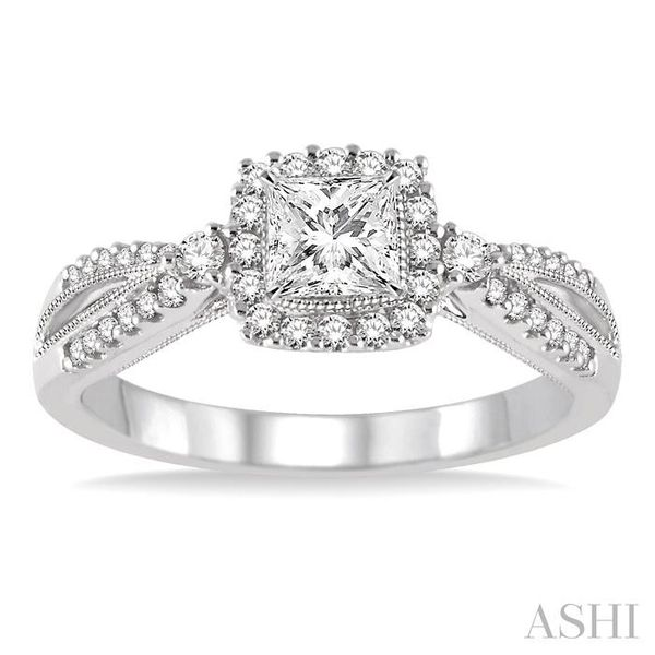 1/2 Ctw Diamond Engagement Ring with 1/5 Ct Princess Cut Center Stone in 14K White Gold Image 2 Seita Jewelers Tarentum, PA