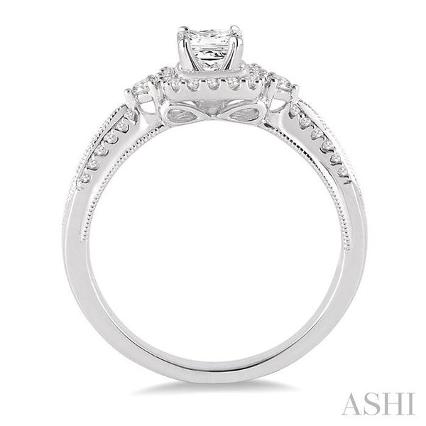 1/2 Ctw Diamond Engagement Ring with 1/5 Ct Princess Cut Center Stone in 14K White Gold Image 3 Seita Jewelers Tarentum, PA