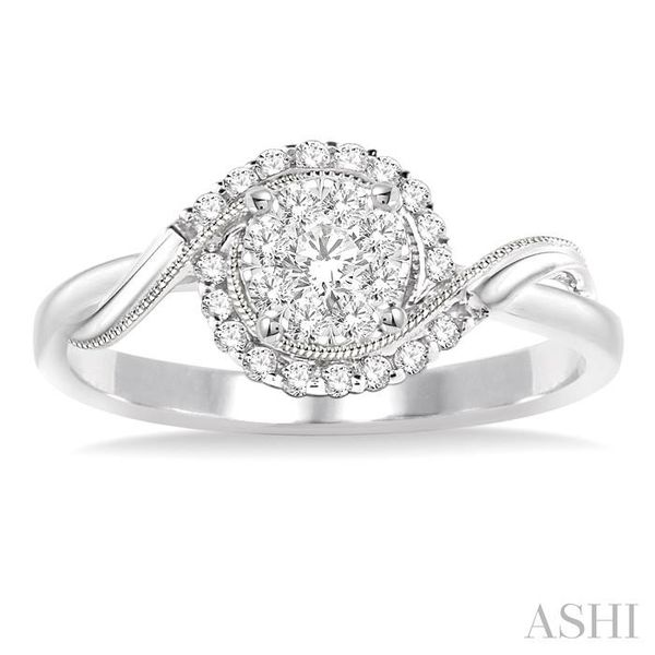 1/3 Ctw Round Cut Diamond Lovebright Engagement Ring in 14K White Gold Image 2 Seita Jewelers Tarentum, PA