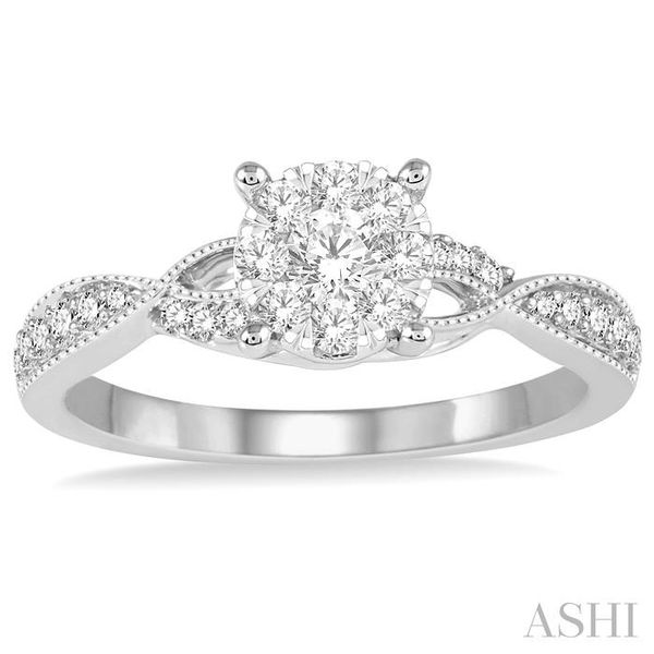 1/2 Ctw Round Cut Diamond Lovebright Engagement Ring in 14K White Gold Image 2 Seita Jewelers Tarentum, PA