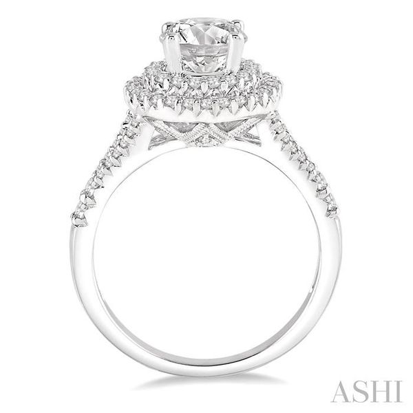 1 Ctw Round Diamond with 1/2 Ct Round Center Diamond Engagement Ring in 14K White Gold Image 3 Seita Jewelers Tarentum, PA