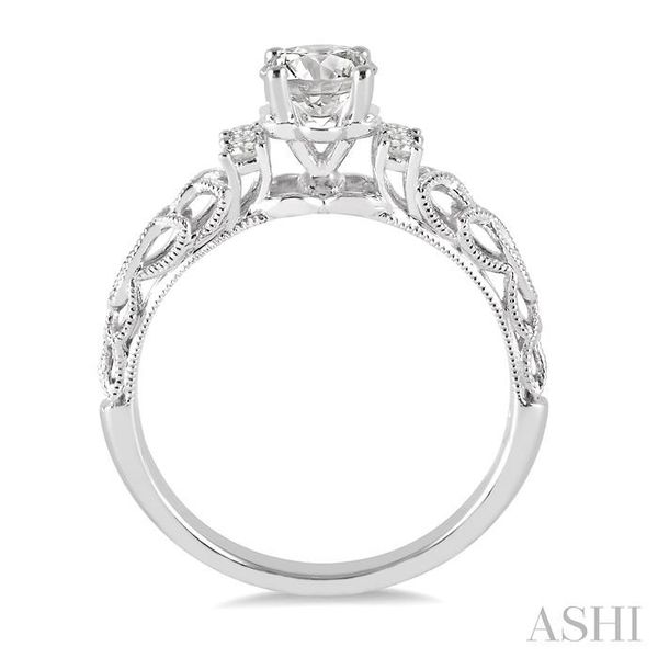 1/3 Ctw Diamond Engagement Ring with 1/4 Ct Round Cut Center Stone in 14K White Gold Image 3 Seita Jewelers Tarentum, PA