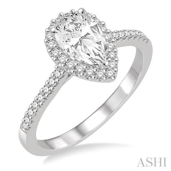 5/8 Ctw Diamond Engagement Ring with 1/3 Ct Pear Shaped Center stone in 14K White Gold Seita Jewelers Tarentum, PA