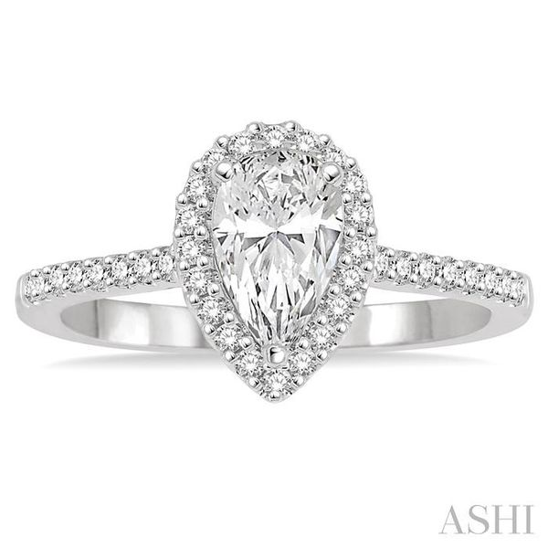 5/8 Ctw Diamond Engagement Ring with 1/3 Ct Pear Shaped Center stone in 14K White Gold Image 2 Seita Jewelers Tarentum, PA