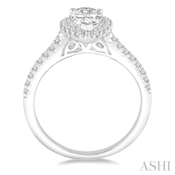 5/8 Ctw Diamond Engagement Ring with 1/3 Ct Pear Shaped Center stone in 14K White Gold Image 3 Seita Jewelers Tarentum, PA