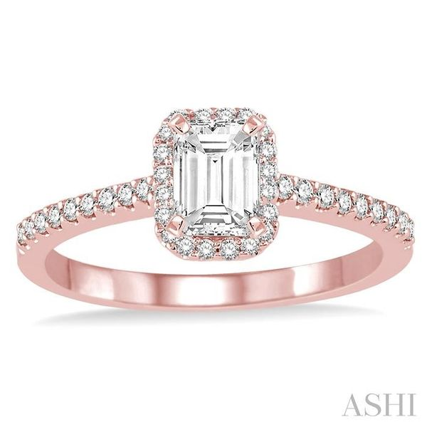 5/8 Ctw Diamond Engagement Ring with 1/3 Ct Octagon Shaped Center stone in 14K Rose Gold Image 2 Seita Jewelers Tarentum, PA