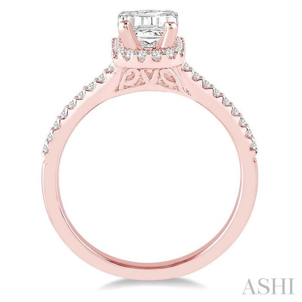 5/8 Ctw Diamond Engagement Ring with 1/3 Ct Octagon Shaped Center stone in 14K Rose Gold Image 3 Seita Jewelers Tarentum, PA