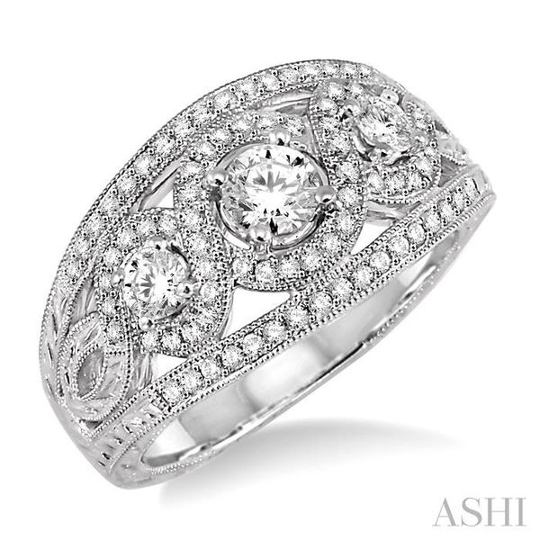 7/8 Ctw Diamond Engagement Ring with 1/3 Ct Round Cut Center Stone in 14K White Gold Seita Jewelers Tarentum, PA
