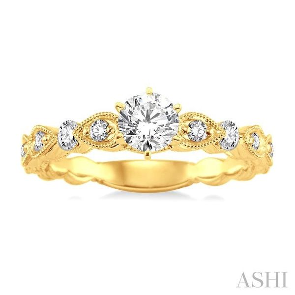 1/2 Ctw Diamond Engagement Ring with 1/4 Ct Round Cut Center Stone in 14K Yellow Gold Image 2 Seita Jewelers Tarentum, PA