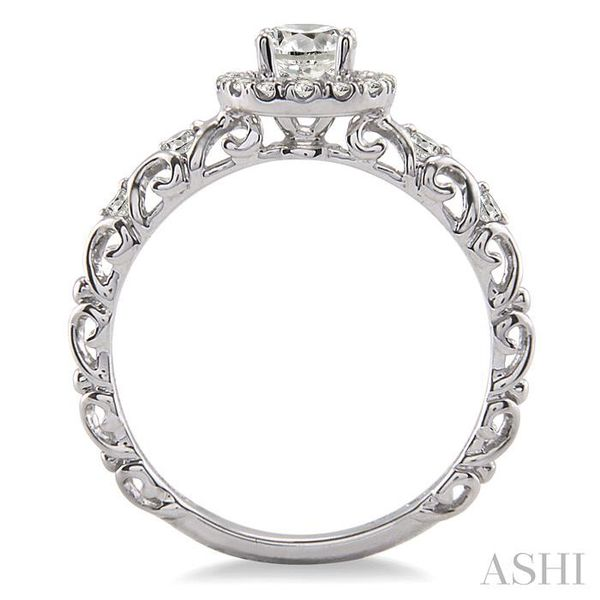 1/3 Ctw Diamond Engagement Ring with 1/5 Ct Round Cut Center Stone in 14K White Gold Image 3 Seita Jewelers Tarentum, PA