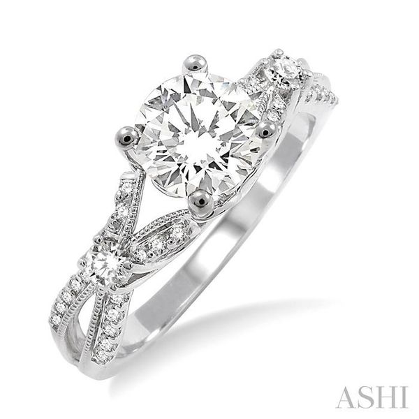 7/8 Ctw Diamond Engagement Ring with 5/8 Ct Round Cut Center Stone in 14K White Gold Seita Jewelers Tarentum, PA