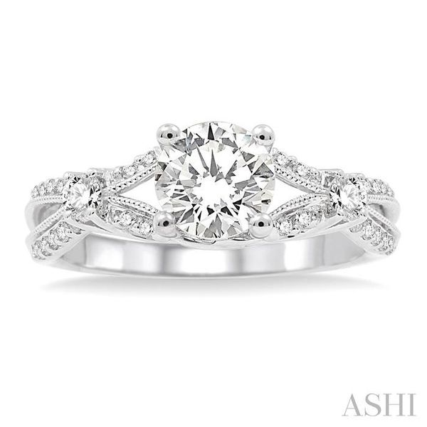 7/8 Ctw Diamond Engagement Ring with 5/8 Ct Round Cut Center Stone in 14K White Gold Image 2 Seita Jewelers Tarentum, PA