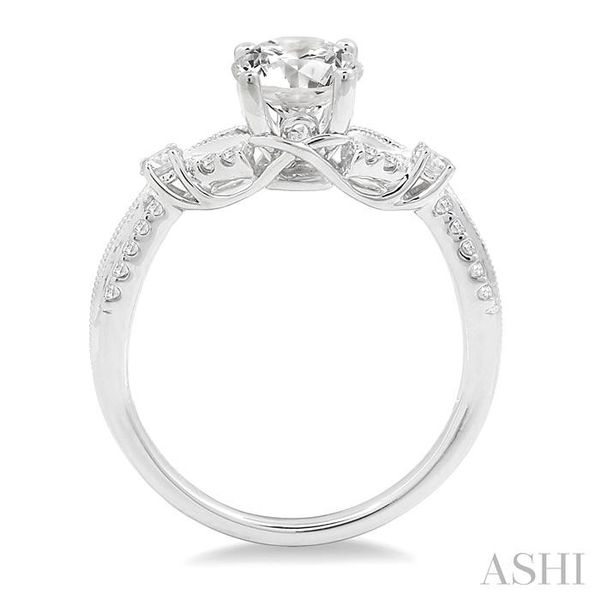 7/8 Ctw Diamond Engagement Ring with 5/8 Ct Round Cut Center Stone in 14K White Gold Image 3 Seita Jewelers Tarentum, PA