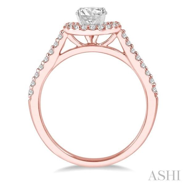 3/4 Ctw Diamond Ladies Engagement Ring with 1/2 Ct Round Cut Center Stone in 14K Rose and White Gold Image 3 Seita Jewelers Tarentum, PA