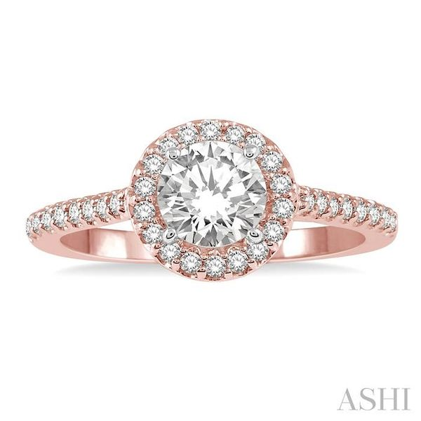 3/8 ct Round Cut Diamond Ladies Engagement Ring in 14K Rose and White Gold Image 2 Seita Jewelers Tarentum, PA