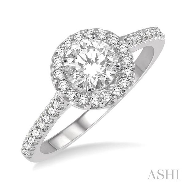 3/8 Ctw Diamond Ladies Engagement Ring with 1/4 Ct Round Cut Center Stone in 14K White Gold Seita Jewelers Tarentum, PA
