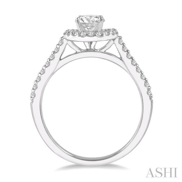 3/8 Ctw Diamond Ladies Engagement Ring with 1/4 Ct Round Cut Center Stone in 14K White Gold Image 3 Seita Jewelers Tarentum, PA
