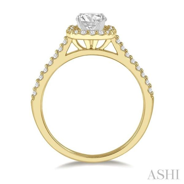 3/8 Ctw Diamond Ladies Engagement Ring with 1/4 Ct Round Cut Center Stone in 14K Yellow and White Gold Image 3 Seita Jewelers Tarentum, PA
