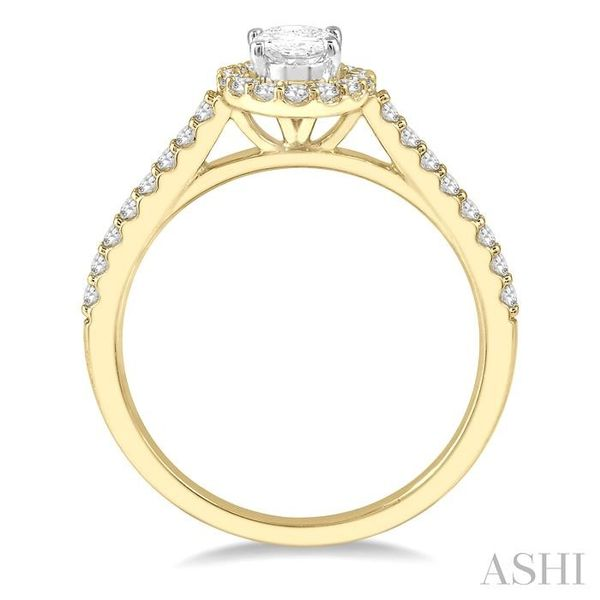 3/4 Ctw Diamond Ladies Engagement Ring with 1/2 Ct Oval Cut Center Stone in 14K Yellow and White Gold Image 3 Seita Jewelers Tarentum, PA
