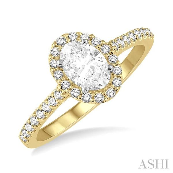 3/8 Ctw Diamond Ladies Engagement Ring with 1/4 Ct Oval Cut Center Stone in 14K Yellow and White Gold Seita Jewelers Tarentum, PA