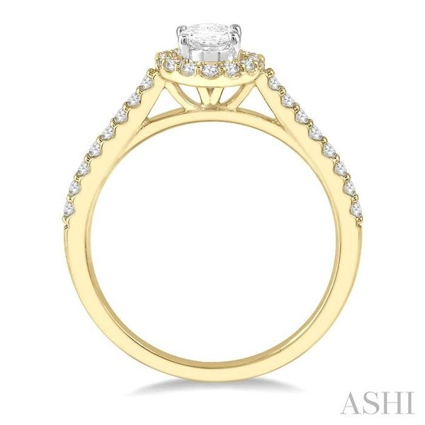 3/8 Ctw Diamond Ladies Engagement Ring with 1/4 Ct Oval Cut Center Stone in 14K Yellow and White Gold Image 3 Seita Jewelers Tarentum, PA