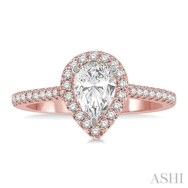3/8 ct Pear Shape Diamond Ladies Engagement Ring in 14K Rose and White Gold Image 2 Seita Jewelers Tarentum, PA