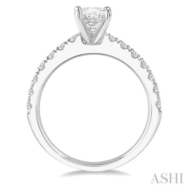1 1/10 Ctw Oval shape Diamond Ladies Engagement Ring with 5/8 Ct Oval Cut Center Stone in 14K White Gold Image 3 Seita Jewelers Tarentum, PA